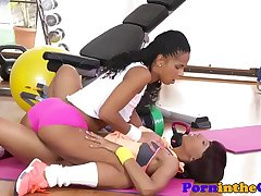 Sporty ebony babes categorizing their pussies