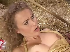 Knockout blonde milf slammed by a younger boy in a barn
