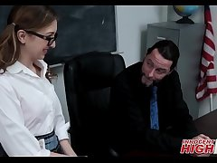 Nerdy High School Teen Fucked Away from Teacher