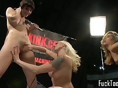Machine loving lesbians toying pussies nicely