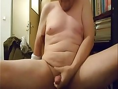 Older guy strokes his dick