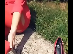 Pretty Milf in Red Dress plus Nylons Part 1- www.prettyfeetvideo.com