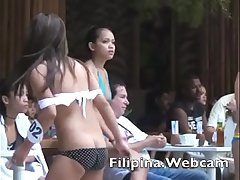 Filipina.webcam girls in swimsuit melee wet t-shirts Manila pool party