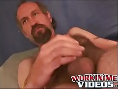 Hairy of age dude masturbates off his dick until a happy climax