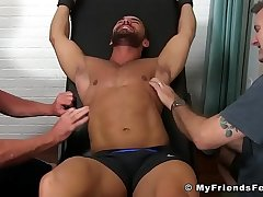 Hunk Bruno Bernal gets tickled together with aroused by his two buds