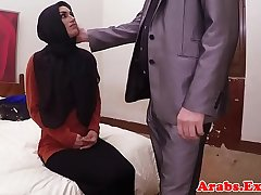 Hijab Arab spoil takes cash for sex POV