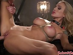 Inked blonde bondage sub doggystyled unconnected with slaver