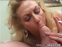 Smoking Of age Gives Blowjob To A Fat Cock