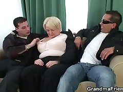 Boozed granny is picked relative to by twosome fellows