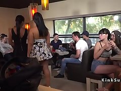 Slave gets orgy facial in public bar