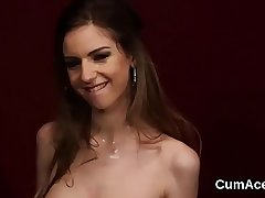Unusual exhale gets cumshot on her complexion engulfing all the saddle with