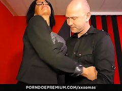 XXX OMAS - Mature with silicone tits gets cum in mouth