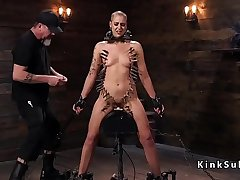 Babe in device bondage gets zippered