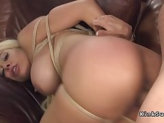 Dude anal bangs lord it over blonde in bondage