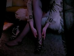 LADY  IN SEDUCTIVE NYLONS IS OBSERVED BY VOYEUR