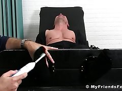 Bald hunk enjoys is feet and crowd tickling by an older dude