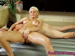 Blonde masseuse indulge tugs